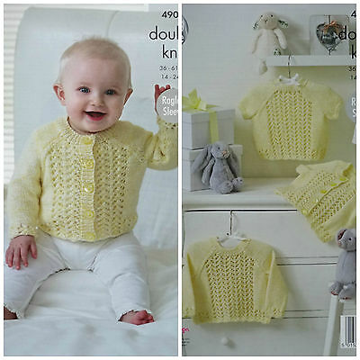 Baby KNITTING PATTERN Baby Lace Front/Hems Cardigans & Jumpers DK King Cole 4902