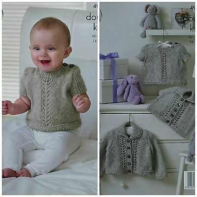 Baby KNITTING PATTERN Baby Lace Panel Cardigans, Jumper & Top DK King Cole 4904