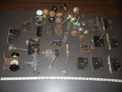 Vintage Door Locks Huge Lot Knobs and Plates Brass & Painted Knob Sets antique