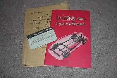 c.1946 Plymouth Car Booklet, Mailing Envelope & ID Card