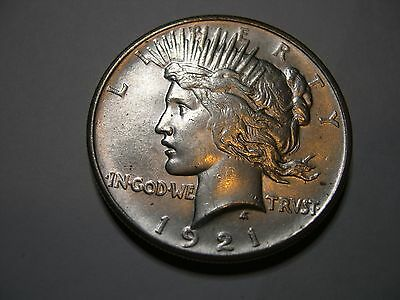 1921 Peace dollar AU with strong strike