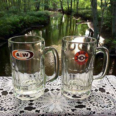 """2 Vintage A & W ROOT BEER MUGS Heavy Glass 6"""" Tall"""