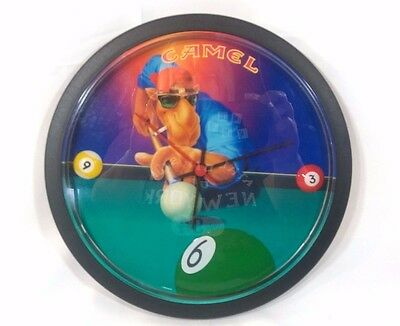 """Vintage Joe Cool 10"""" Round Camel Cigarettes Clock - Pool w/ Cue Ball Numbers"""