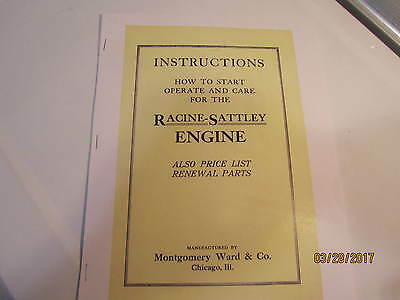 Racine Sattley Gas Engine  Color Catalog Instruction Manual engine parts, mag
