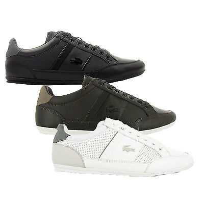 Lacoste Mens Chaymon Lace Up Active Gym Black Brown White Lo Top Trainers