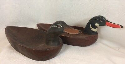 Two Primitive Wooden Painted Mallard Duck Decoy Bowl Serving Dish Tray Hand Made