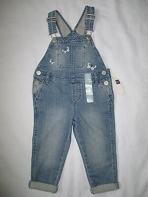 NWT Baby Gap Toddler Girl's Denim Overalls Size 12-18M, 2 Yrs