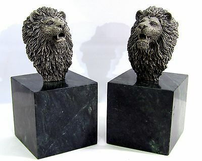 Pewter Lion Bust Sculpture Book Ends on Green Marble, signed B. Austin