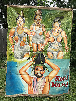 Blood Money Original African Movie Poster Painting Flour Sack Ghana Hand Painted