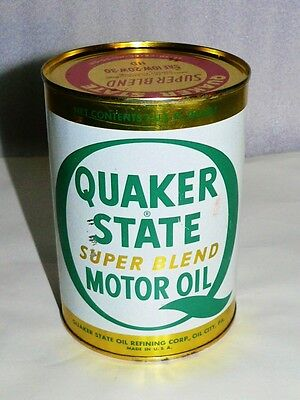 Vintage Quaker State Super Blend 1 Quart Motor Oil NOS SAE 10-30W HD Can