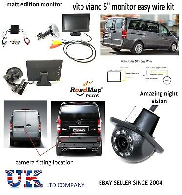 mercedes vito viano new shape rear reversing camera 5 inch monitor kit parking