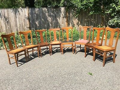 Eight Charmingly Mismatched Antique Tiger Oak Quartersawn Dining Chairs