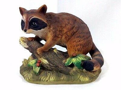 Vintage HOMCO Home Interiors Masterpiece Porcelain Collection - Raccoon on Log