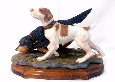 Vintage Pair of Hunting Dogs Figurine - Pointer Springer Spaniel on Wood Plaque