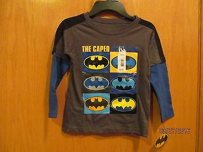 BATMAN Caped Crusader LS Tee Shirt~Boys Size 2T~NEW W/Tags