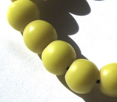 """19 Rare Amazing Old Yellow Czech """"prosser"""" Antique Beads African Trade"""