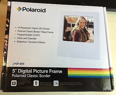 "Polaroid 5"" Digital Picture Frame PDF-500 - New, White,Wood Border, Programmable"