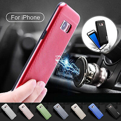 Magnet Car Holder Slim Soft Carbon Fiber TPU Case For Samsung S6/S7 Edge/S8+