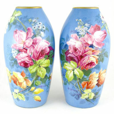 Pair French Limoges Hand Painted Porcelain Vases Blooming Pink Roses, Signed