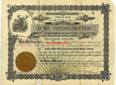 1906 Acme Consolidated Gold Copper Mining Uncanceled Stock Certificate Wyoming