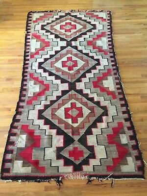 "Antique 19th Century Navajo Rug Large 82"" x 44"" 1890's Native American"