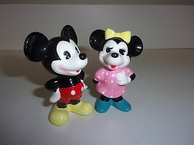 Vintage Walt Disney Productions Mickey and Minnie Mouse Figurines Japan