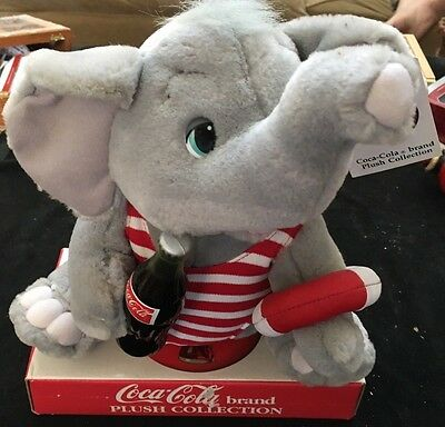 """Coca Cola Brand Plush Collection 8"""" Beach Elephant 1993 With Tags"""
