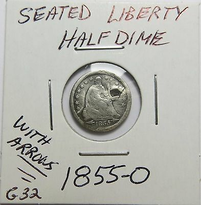 1855-O With Arrows Silver Half Dime ~ Pre-Civil War ~ Combined Shipping  Lot G32