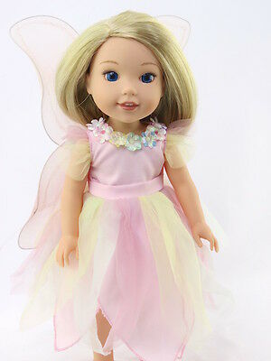 "Pink Pastel Fairy Dress Outfit Fits Wellie Wishers 14.5"" American Girl Clothes"