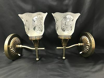 Vintage Pair of Gold Tone Electric Wall Sconces with Frosted Cut Glass Shades