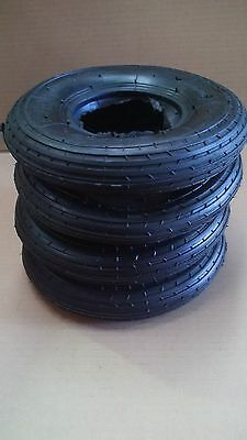 4x 200x50 Black Rubber Tyres & Tubes for Wheelchairs