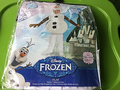 NEW Frozen Disney Deluxe Olaf Child Toddler Costume SIZE 2T BOY / GIRL FREE S/H