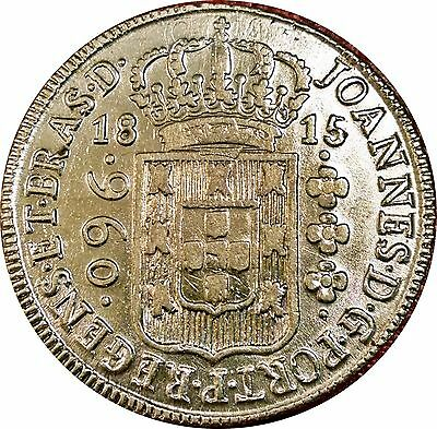 Brazil Empire 960 Reis 1815 ~ Gorgeous Lustrous Coin Struck Over Mexico 8 Reales