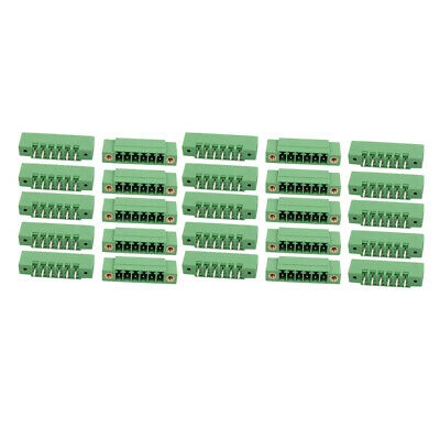 25Pcs AC 300V 8A 3.5mm Pitch 6P PCB Terminal Block Wire Connection Green