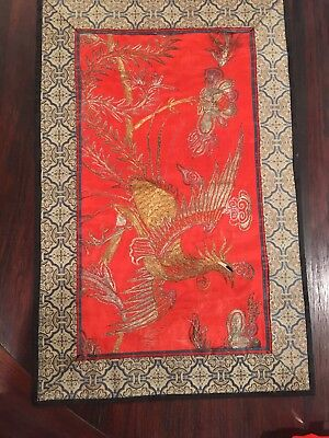 "ANTIQUE CHINESE FINE SILK EMBROIDERY Panel 15"" x 9.""  Phoenix in gold thread"