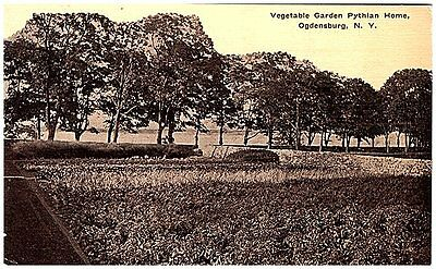 pre 1915 Postcard view of Vegetable Garden Pythian Home Ogdensburg NY unused