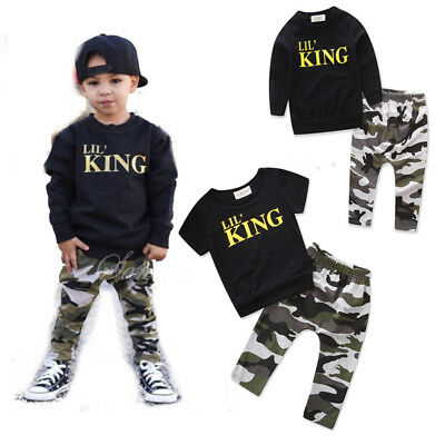 US Stock Toddler Infant Kids Baby Boys Clothing T-shirt Tops+Pants Outfits Set