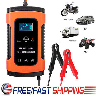 12V Smart Fast Lead-acid Battery Charger for Car Motorcycle LCD Display US Plug