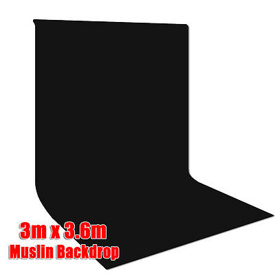 Photography Studio Seamless 3x3.6m Black Muslin Backdrop Background for Portrait
