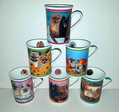 6 Danbury Mint Purely POMERANIANS Mugs Cups Birthday Party Play Day, On Vacation