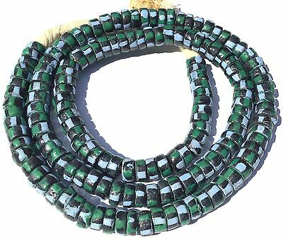 Ghana handmade recycled glass Green and Lilac stripes disk African Trade Beads