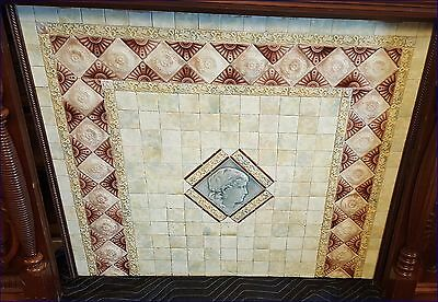 Antique Tile Fireplace Cover Insert Early 1900's