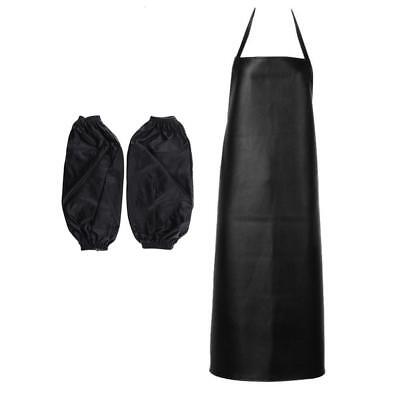 Waterproof Chef Apron for Butcher Kitchen Cooking BBQ with Sleeves Black