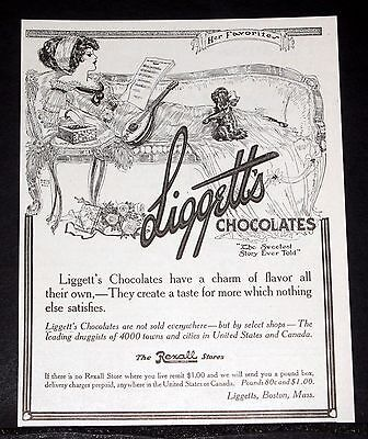 1911 Old Magazine Print Ad, Liggett's Chocolates, The Sweetest Story Ever Told!
