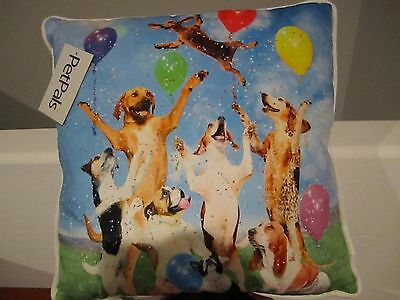 "Whimsical Basset Hound Dachshund Bulldog Party Dogs Pillow 18x18"" Pet Pals NEW"
