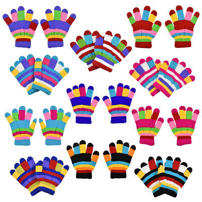 Kids Gloves Cute Soft Striped Colorful Gloves Outdoor Winter Accessories Cute