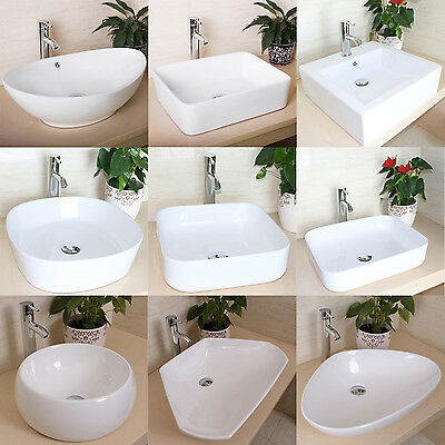 Bathroom Porcelain Ceramic Vessel Sink Basin Bowl Faucet Popup Drain Combo White