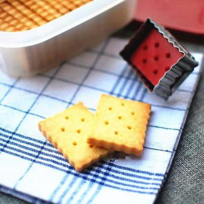 3D Rectangle Crinkled Ejector Cookie Cutter Pastry Fondant Mold Decor DIY 6A