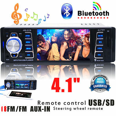 "4.1"" 1 DIN HD Screen Car Stereo Radio Player AUX FM/USB/SD Bluetooth MP5 +Remote"