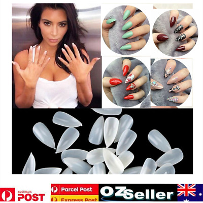 600X Almond Tips Stiletto Pointy Oval Nails False Shape Acrylic Gel Claw Nail